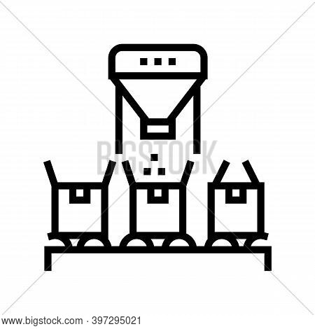 Boxes Filling With Goods Line Icon Vector. Boxes Filling With Goods Sign. Isolated Contour Symbol Bl