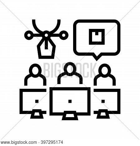 Factory Creative Command Line Icon Vector. Factory Creative Command Sign. Isolated Contour Symbol Bl