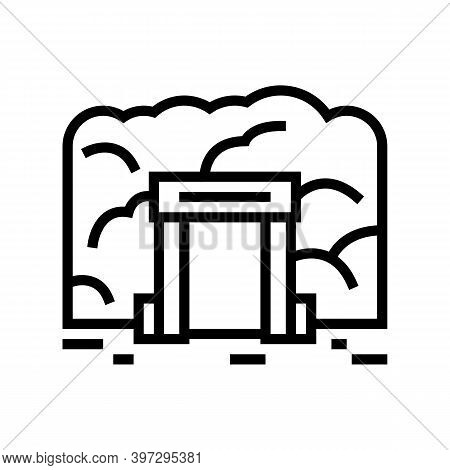 Mine Entry Line Icon Vector. Mine Entry Sign. Isolated Contour Symbol Black Illustration