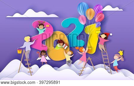 2021 New Year Card. Kids Different Nationalities Decorate Big Numbers 2021