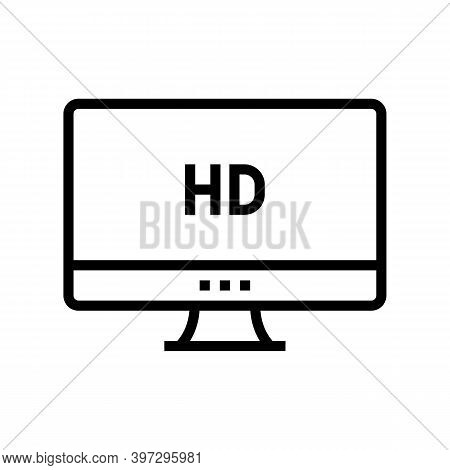 Hd Resolution Computer Screen Line Icon Vector. Hd Resolution Computer Screen Sign. Isolated Contour
