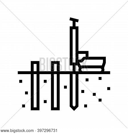 Pile Driving Line Icon Vector. Pile Driving Sign. Isolated Contour Symbol Black Illustration