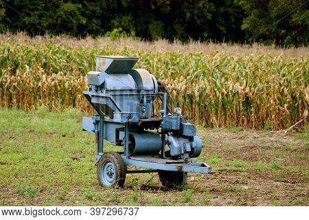 Maize (corn) Grain Separation Machine. Threshing Machine.