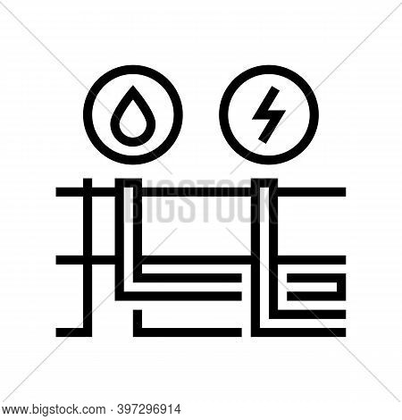 Building Drainage And Electricity Line Icon Vector. Building Drainage And Electricity Sign. Isolated