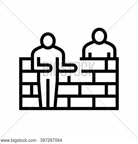 Builders Building Wall Line Icon Vector. Builders Building Wall Sign. Isolated Contour Symbol Black