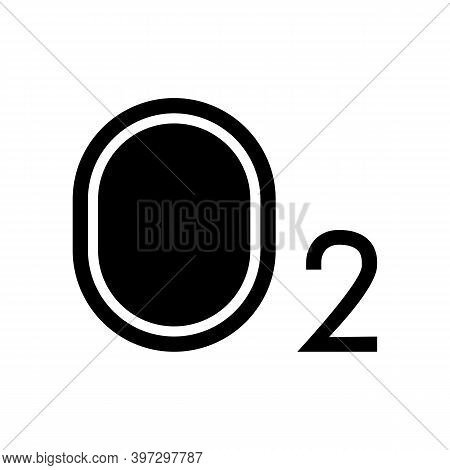 O2 Oxygen Glyph Icon Vector. O2 Oxygen Sign. Isolated Contour Symbol Black Illustration