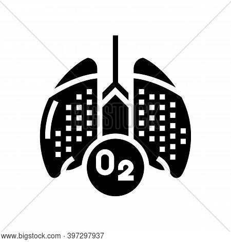 Lungs With Oxygen Glyph Icon Vector. Lungs With Oxygen Sign. Isolated Contour Symbol Black Illustrat
