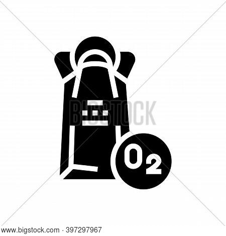 Oxygen Mask Package Glyph Icon Vector. Oxygen Mask Package Sign. Isolated Contour Symbol Black Illus