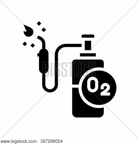 Oxygen Cylinder For Welding Glyph Icon Vector. Oxygen Cylinder For Welding Sign. Isolated Contour Sy