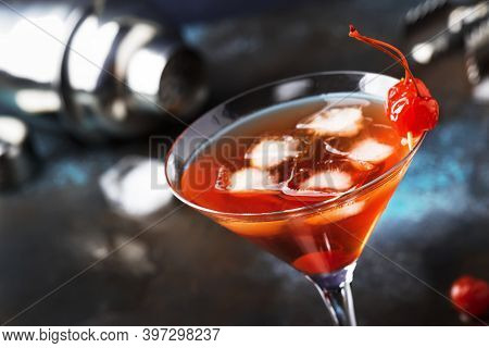 Classic Alcoholic Cocktail Manhattan With American Bourbon, Red Vermouth, Bitter, Ice And Cocktail C