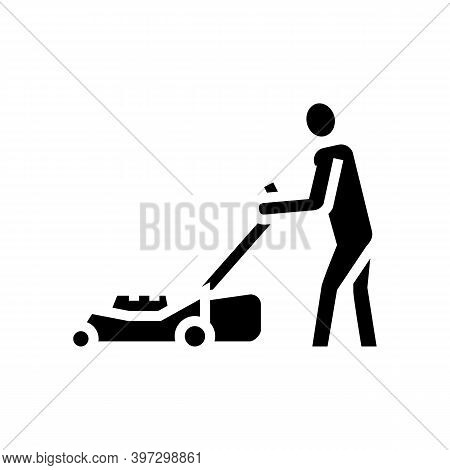 Gardener With Lawn Mower Glyph Icon Vector. Gardener With Lawn Mower Sign. Isolated Contour Symbol B