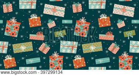 Christmas And Happy New Year Seamless Pattern With Gift Boxes. Trendy Retro Style.