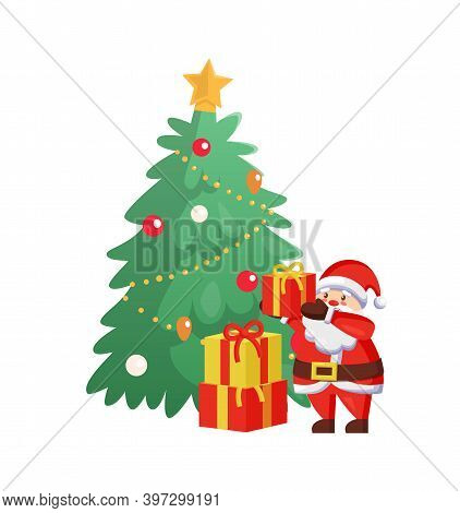 Merry Christmas Celebration Tree With Santa Claus Vector. Winter Character Packing Gifts, Presents W
