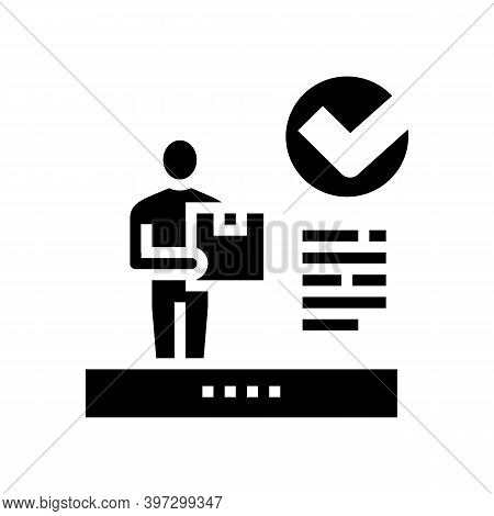 Client Received Parcel Glyph Icon Vector. Client Received Parcel Sign. Isolated Contour Symbol Black