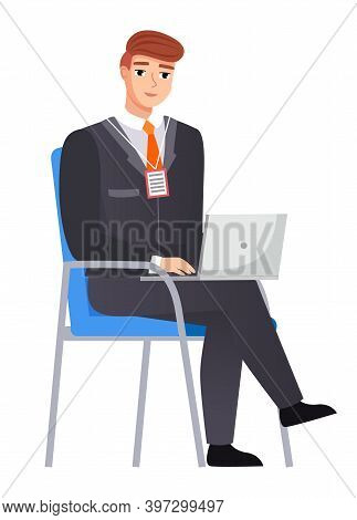 Office Staff, Manager Work And Communication. Office Worker On Chair. Business Employees On Their Wo