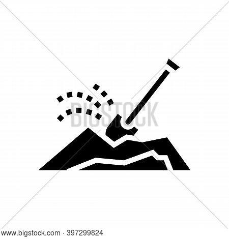 Shovel Dig Hole Glyph Icon Vector. Shovel Dig Hole Sign. Isolated Contour Symbol Black Illustration