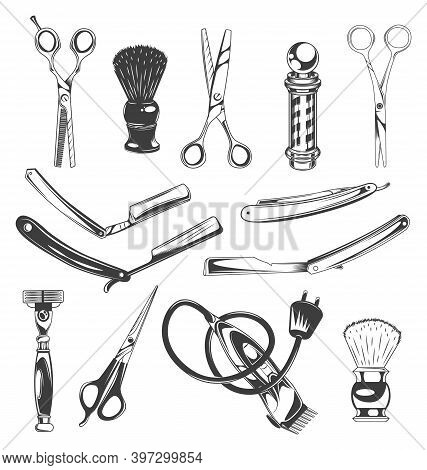 Set Of Barbershop Tools, Instruments, Symbols. Different Scissors For Cutting Hair, Shaving Brush, B