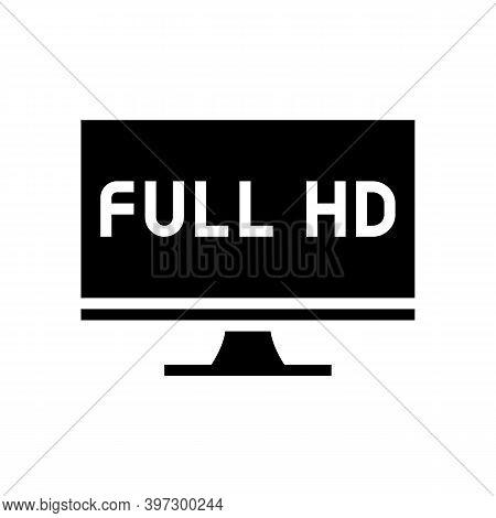Full Hd Resolution Computer Screen Glyph Icon Vector. Full Hd Resolution Computer Screen Sign. Isola