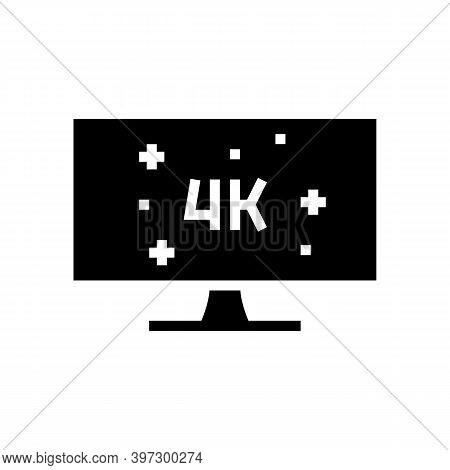 4k Resolution Computer Display Glyph Icon Vector. 4k Resolution Computer Display Sign. Isolated Cont