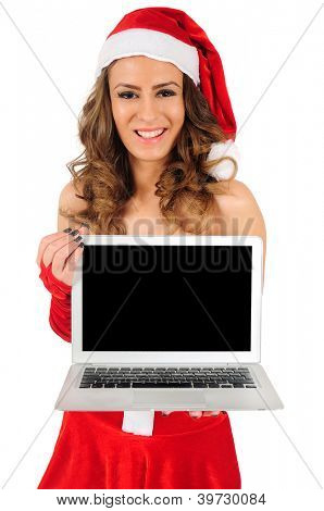Isolated young christmas woman with laptop