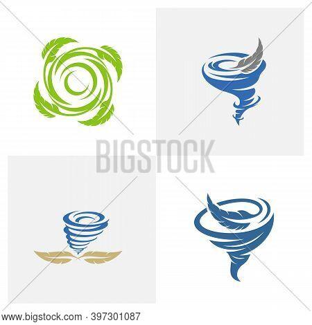 Set Of Feather With Tornado Logo Vector Template, Creative Tornado Logo Design Concepts, Illustratio