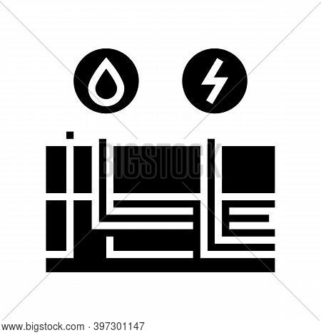 Building Drainage And Electricity Glyph Icon Vector. Building Drainage And Electricity Sign. Isolate