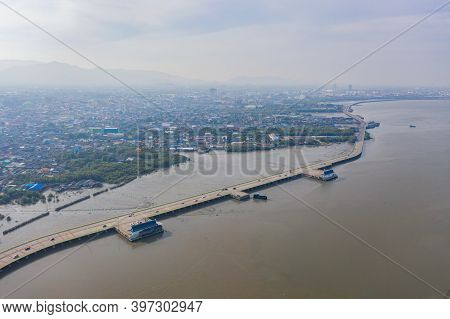 Aerial View Of Chon Ra Mak Vi Tee Bridge Road In Sri Racha District With Sea, Chonburi Skyline, Thai
