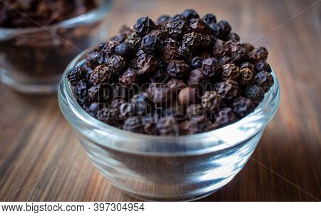 View Of Black Peppercorns In A Bowl. Black Pepper Boost Immunity Naturally