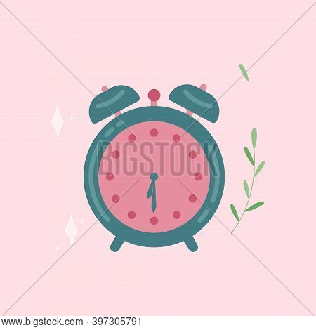 Alarm Clock Aquamarine Pink Wake-up Time. Icon Isolated On Background In Trendy Flat Style. Vector I