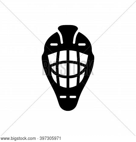 Goalie Helmet Vector Glyph Icon. Winter Sign. Graph Symbol For Travel And Tourism Web Site And Apps