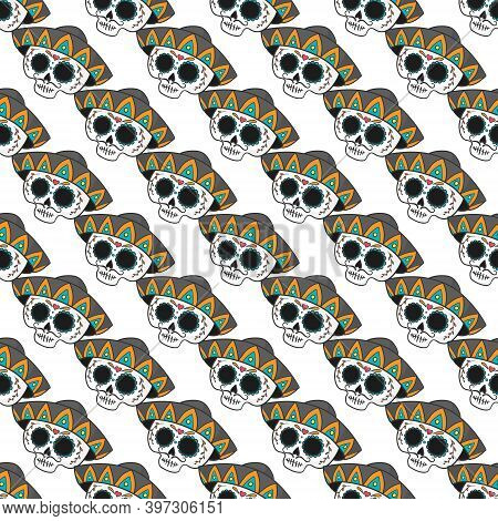 Seamless Calaveras Background, Day Of The Dead Pattern