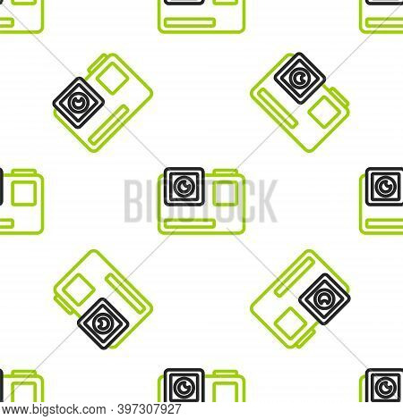 Line Action Extreme Camera Icon Isolated Seamless Pattern On White Background. Video Camera Equipmen