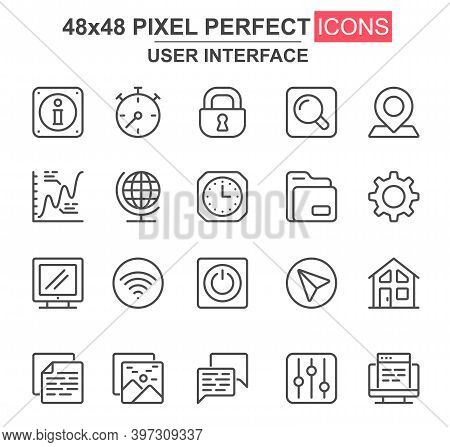 User Interface Thin Line Icon Set. Pinpointer, Lock, Gear, Email, Magnifier, Chart, Clock, Wifi, Sea