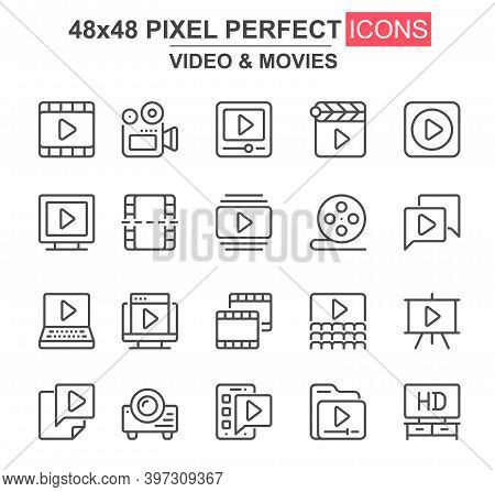 Video And Movies Thin Line Icon Set. Film Strip, Reel, Camera, Clapperboard, Cinema Theater, Project
