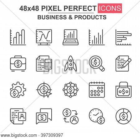 Business And Products Thin Line Icon Set. Rocket, Chart, Goal, Finance, Capital, Scheduler, Stock In