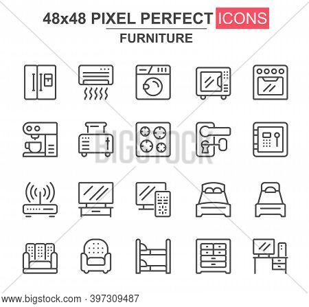 Furniture Thin Line Icon Set. Refrigerator, Coffee Maker, Toaster, Oven, Safe, Router, Air Condition