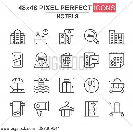 Hotels Thin Line Icon Set. Receptionist, Towel, Restaurant, Shower, Luggage, Key, Room Service, Pool