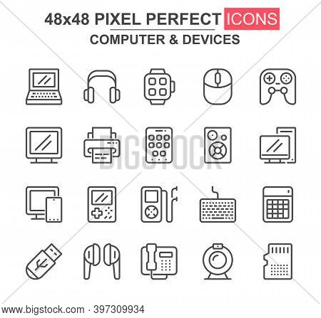 Computer And Devices Thin Line Icon Set. Laptop, Gamepad, Printer, Smart Watch, Mp3 Player, Usb Driv