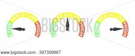 Rating Meter. Difficulty Level Low Medium High. Set Of Measuring Speedometer. Barometer Icon. Measur