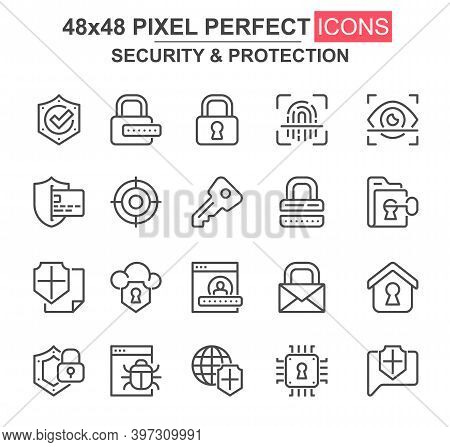 Security And Protection Thin Line Icon Set. Password, Key, Padlock, Fingerprint, Firewall, Bug, Shie