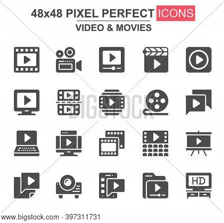 Video And Movies Glyph Icon Set. Film Strip, Reel, Camera, Clapperboard, Cinema, Video Content, Proj