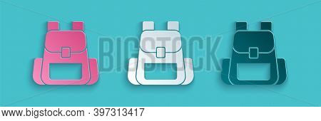 Paper Cut Hiking Backpack Icon Isolated On Blue Background. Camping And Mountain Exploring Backpack.
