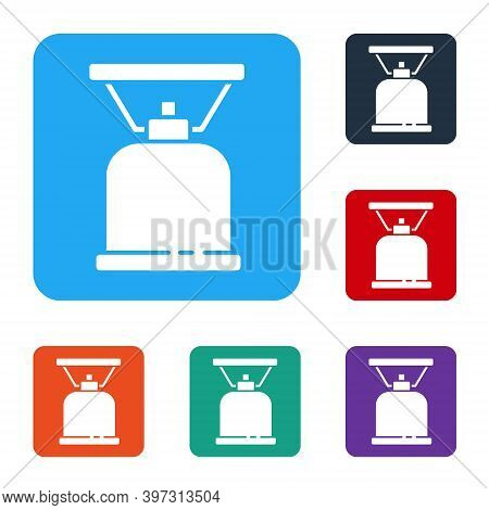 White Camping Gas Stove Icon Isolated On White Background. Portable Gas Burner. Hiking, Camping Equi