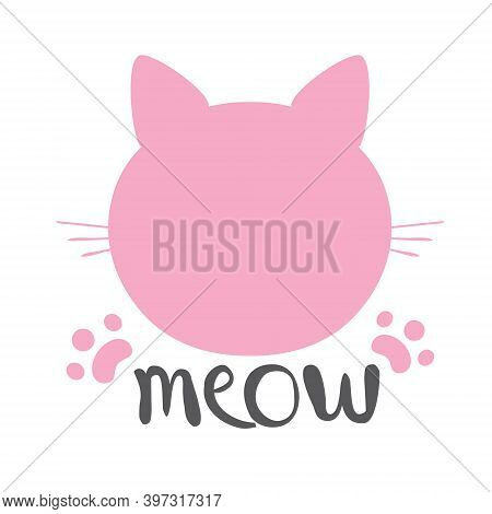 Cat Silhouette Pink Icon, Lettering Meow Whiskers Vector.