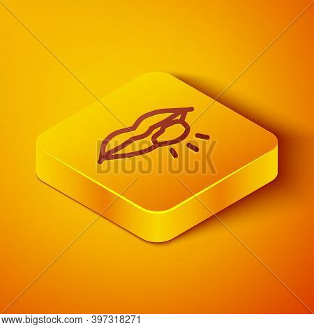 Isometric Line Herpes Lip Icon Isolated On Orange Background. Herpes Simplex Virus. Labial Infection