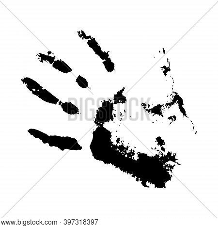 Vector Concept Or Conceptual Cute Paint Human Hand Or Handprint Of Child Isolated On White Backgroun
