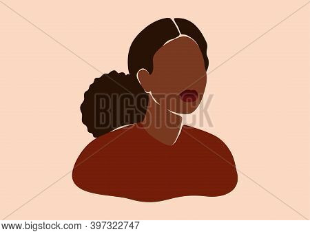 Silhouette Of Black Woman With Curly Hair In A Bun. Confident Young Female With Dark Brown Skin Port