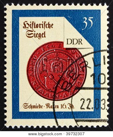 a stamp printed in GDR shows Nauen Smith, Seal from 16th Century, circa 1988 poster