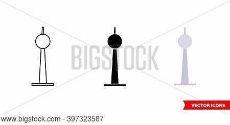 Berlin Tv Tower Icon Of 3 Types Color, Black And White, Outline. Isolated Vector Sign Symbol.