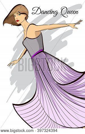 Fashion Woman Model In Dress. Beautiful Young Brown Hair Woman. Hand Drawn Fashion Girl. Sketch. Fas